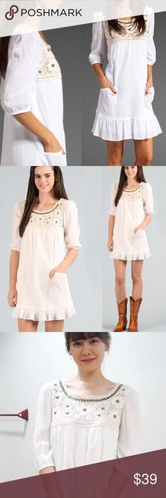 """White dress S Made in Korea s xs 0 2 """"inspired"""" Voom dress. 🦄 A few mini neckline brass discs have some chips but other than that in great condition. Gauzy linen like fabric so perfect for summer. Lined! Has two cute pockets :) Voom (inspired) Dresses"""