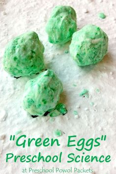 """""""Easy!  Simply mix 1/2 cup of baking soda with 9 drops of food coloring and 1 tablespoon of water.  You should have a soft dough that holds together when you squeeze it, but falls apart if any extra pressure is added.  Form your dough into four balls--your brilliant """"green eggs!"""" Give with a cup of vinegar"""""""
