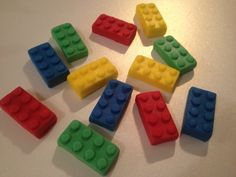 Lego Inspired Fondant Cupcake Toppers Lego Fondant Cake Decoration - 12 pieces
