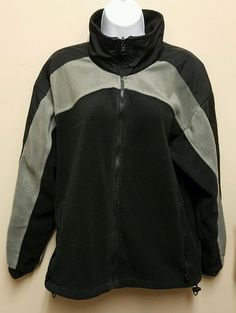 Columbia LARGE black gray fleece zip up Jacket Wind breaker womens full zip #Columbia #BasicJacket #Casual
