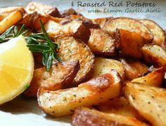 Joyously Domestic: Roasted Red Potatoes with Lemon Garlic Aioli. Tried this, very good, but need to use less salt! Potato Dishes, Potato Recipes, Pork Dishes, Lemon Garlic Aioli, Garlic Red Potatoes, Cooking Recipes, Healthy Recipes, Yummy Recipes, Vegetarian Recipes