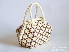 エコクラフト・鉄線編み/亀甲網代編み:五稜 Tessen / tortoise ajiro weave purse