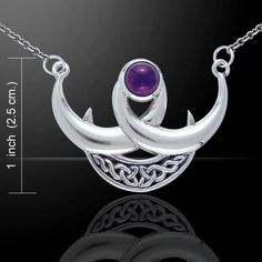 Triple Moon Goddess Necklace in .925 Sterling Silver with Amethyst gemstone - Crescent Moon Horned Moon Necklace