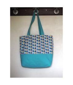 Sac à main en toile de coton bleu turquoise et imprimé triangle / sac shopping / tote bag / style sac cabas