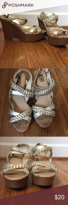 Mix No 6 strapping wedge heeled sandals These have been worn once. Once. For a wedding. They are super comfortable! They are not leather, but they are very sassy! EUC all across the board! Mix No. 6 Shoes Sandals
