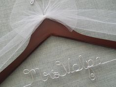 Bridal Hanger with White Bow,  Personalized Wedding Hanger, Wedding Shower Gift, Bridal Hanger, Engagement Hanger