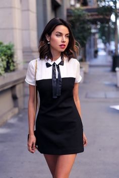 Love this adorable little black (& white) dress, the color palette is simple but the details and the color blocking keep it interesting