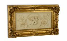 Plaque met engelen in goud kleur lijst.