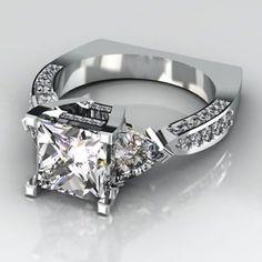 Princess Cut with Trillions Diamond Ring