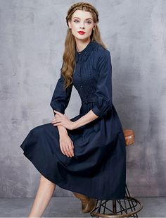 40s Style Button Down Embroidery Elbow Sleeves Dress