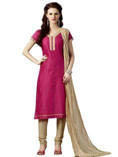 Delightful pink color chanderi silk kurta with resham work . Item Code : SLHD74021 www.bharatplaza.com/new-arrivals/salwar-kameez.html