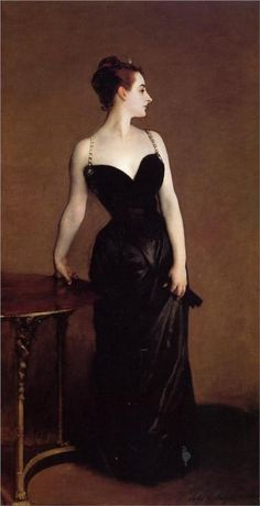 Madame X - John Singer Sargent, 1884. The original of this caused a scandal, because the strap on her right shoulder was down. It was subsequently repainted, but you can still see that the right top of her bodice is a little off.