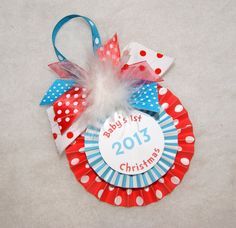 Dr. Seuss Stripes and Polka Dots Baby's 1st Christmas Ornament by shoplissy, $7.45