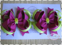 Items similar to Set of Two Purple Lime layered boutique bows on Etsy Kids Hair Bows, Girls Bows, Boutique Hair Bows, Awesome Hair, Ribbon Hair, Diy Hair Accessories, Cute Bows, Ava, Hair Clips