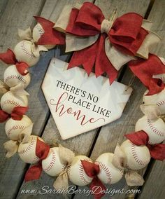 Softball Wreath, Baseball Wreaths, Baseball Crafts, Sports Wreaths, Softball Party, Softball Gifts, Cheerleading Gifts, Basketball Gifts, Baseball Party