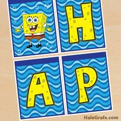 spongebob birthday banner FREE Printable Spongebob Squarepants Birthday Banner