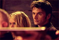 """another pinned wrote, """"So this is all very shippy with the protectiveness and the touching but for some reason, that FOURTH GIF in particular where they're watching the soldiers shoot the werewolf and Rose is flinching away from the noise and the muzzle-flash ... she's huddling back into the Doctor for protection. And he's just standing there; he doesn't blink or flinch. For some reason that one is really getting to me.""""----agree"""