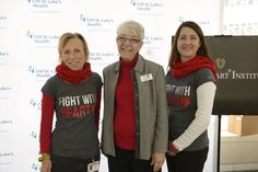 WomenHeart Champions Anne Record Bunting, Lisa Bundick Hulick, and Rebecca Trahan at Texas Heart Institute wearing HeartScarves for American Heart Month