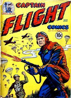 Comic Book Cover For Captain Flight Comics #3-Date: Jul 1944