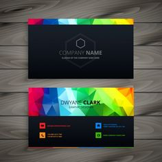 Dark business card with abstract shapes Free Vector