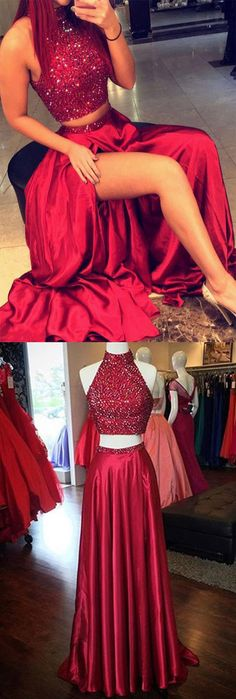 Two Piece Prom Dresses Red, Long Party Dresses 2018, A-line Formal Dresses High Neck, Silk-like Satin Split Front Evening Gowns Open Back Latest