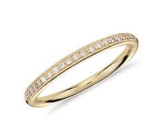 Heirloom Petite Pavé Diamond Ring in 18k Yellow Gold (1/8 ct. tw.); $620