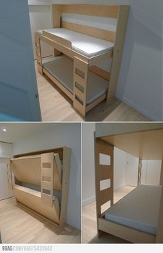 If you make the frame a little bit wider and attach 2 straps to each bed you can fix the pillow and blanket at the mattress and it's no problem to fold the bed in..