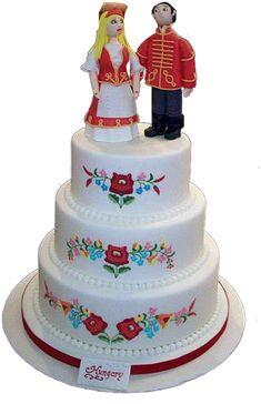 Kalocsai mintás emeletes esküvői torta