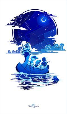 "Zelda - ""Night of the Goddesses"" Wind Waker Print by SkyPiratePrints on Etsy https://www.etsy.com/listing/215826015/zelda-night-of-the-goddesses-wind-waker"