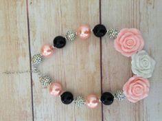 Girls Fall Rose Gumball Necklace Pink White by RufflesandTwirls, $15.00