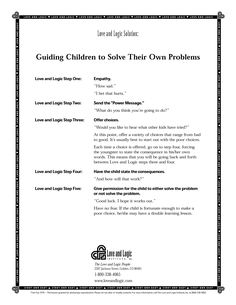 How to guide your #children to solve their own problems #parenting #tips from Love and Logic #kids #parents