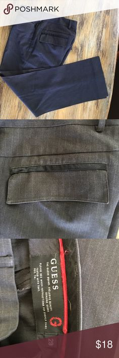 Guess dress pants sz 29 Guess pinstripe with satin accents dress pants great condition dark grey With a very subtle pinstripes go left Guess Pants Trousers