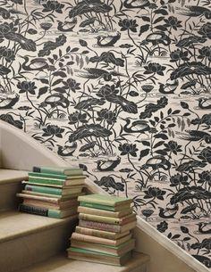 GP & J Baker Wallpeper - Herons Black & White Lotus Flower Wallpaper, Love Wallpaper, Designer Wallpaper, William Turner, Silhouette Design, Interior Design Inspiration, Aqua, Silhouettes, Sweet Home