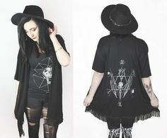 Creature skeleton witching Hour fringe cardigan by SOVRIN on Etsy, $55.00