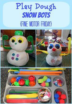 Play Dough Snow Bots | Stir the Wonder #kbn #finemotorfridays #finemotor