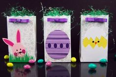 Cute Bunny, Egg and Chick Easter Treat Bag Paper Project
