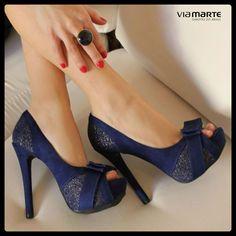 peep toe - salto alto - azul - blue - inverno 2014 - Ref. 14-6406