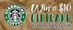 Starbucks Gift Card Giveaway, rafflecopter, $10 gift card, win