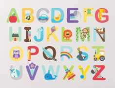Alphabet Wall Stickers make learning the ABC fun and easy for your child. Alphabet A, Typography Alphabet, Alphabet Crafts, Learning The Alphabet, Preschool Learning, Early Learning, Teaching, Wall Stickers, Wall Decals