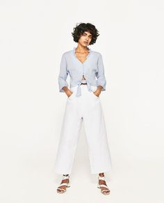 ZARA - WOMAN - CROPPED KNOTTED BLOUSE WITH FRILLS