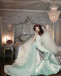 Elegant Lingerie in Seafoam for Barbie in Bedroom w/ Crystal Chandelier