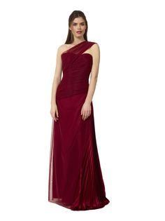 Liancarlo Style 3117 Stretch tulle gown with pleated charmeuse side skirt in burgundy #redcarpet #motherofthebride #evening