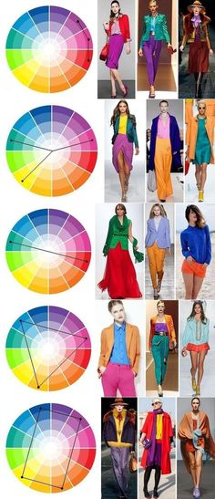 Using the color wheel to coordinate your outfit Colour Combinations Fashion, Color Combinations For Clothes, Fashion Colours, Colorful Fashion, Color Wheel Fashion, Colour Pallete, Colour Schemes, Color Trends, Color Combos