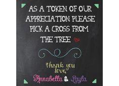 Baptism/Christening Twin Girls Favor Tree Sign, Chalkboard Designs