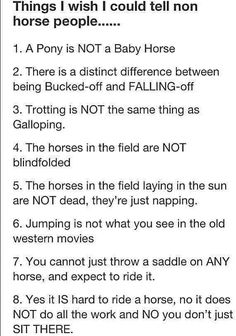 Somebody gets it! The last one is the worst. People don't understand that its just as much work as other sports to ride a horse.