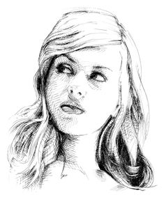 Cross hatching, ink portrait. Traditional drawing. Download