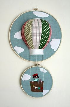 embroideri hoop, wall art, new babies, craft, bastidor, appliques, embroidery hoops, hot air balloons, art walls