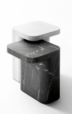 Jean Louis Iratzoki's Petra side tables in black marquina and white carrara marbles
