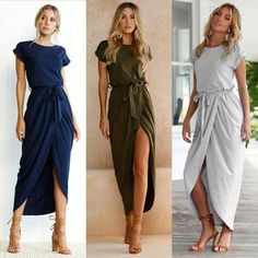 ffabe3fe85 Women Short Sleeve Front Fork Long Dresses 2018 on sale  womens  woman   womensfashion