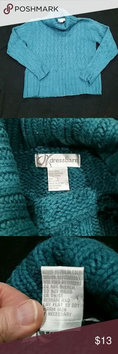 Dress Barn Cable Knit Sweater Teal cable knit turtleneck sweater, soft cotton. Dress Barn Sweaters Cowl & Turtlenecks